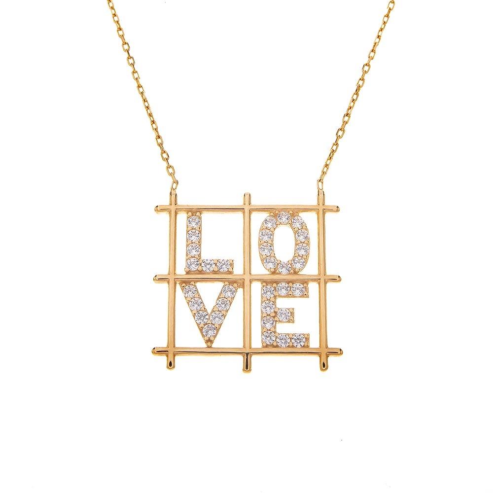 Mücevher Dünyası - 14 Ayar Taşlı Love Yazılı Kare Altın Kolye