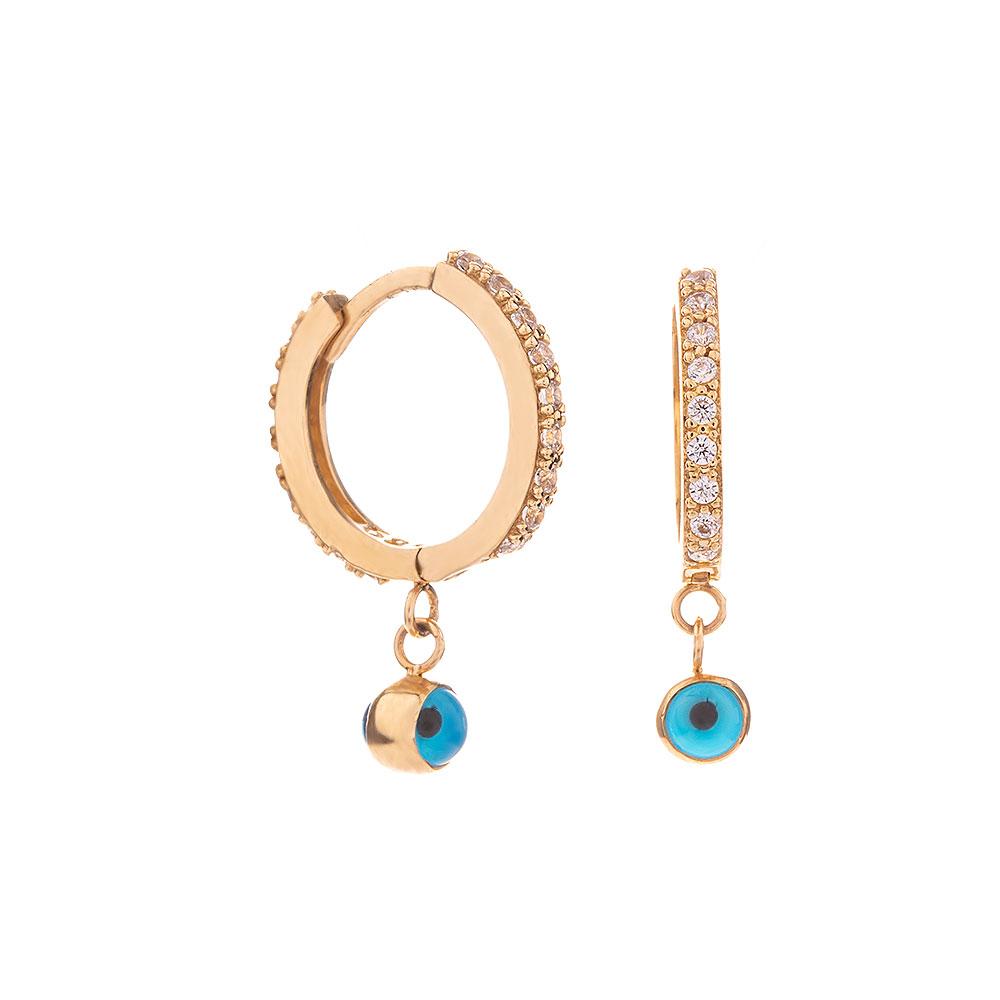Mücevher Dünyası - 14 Ayar Taşlı Mavi Boncuklu Altın Küpe