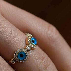 Mücevher Dünyası - 14 Ayar Taşlı Mavi Boncuklu Altın Yüzük | Mücevher Dünyası
