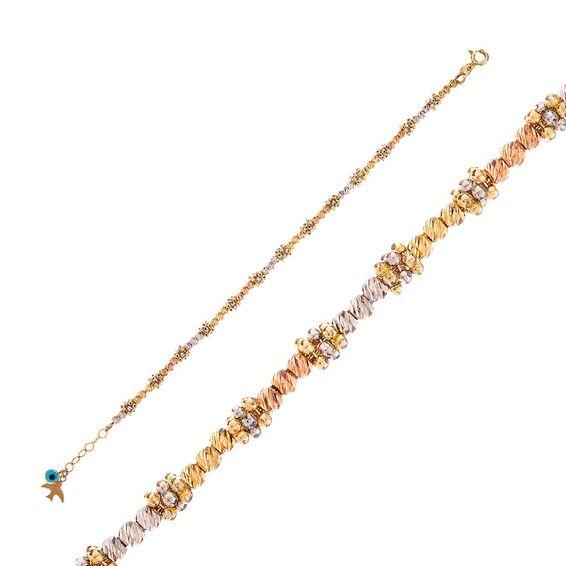 Mücevher Dünyası - 14 Ayar Taşlı Mavi Boncuklu Dorika Çocuk Altın Bileklik