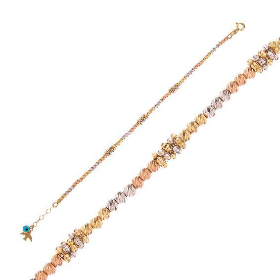 Mücevher Dünyası - 14 Ayar Taşlı Mavi Boncuklu Dorika Çocuk Altın Bileklik - 16 Cm.