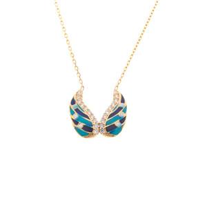 Mücevher Dünyası - 14 Ayar Taşlı Mavi Kanat Altın Kolye
