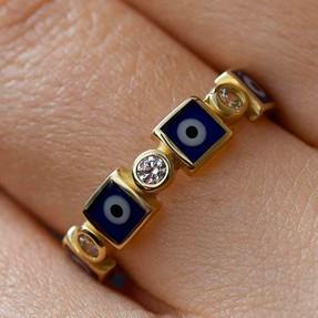 - 14 Ayar Taşlı Mavi Nazar Altın Yüzük | Mücevher Dünyası