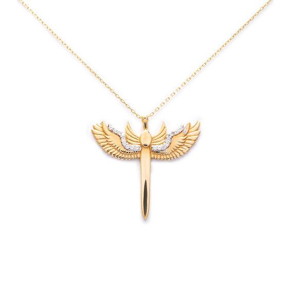 Mücevher Dünyası - 14 Ayar Taşlı Melek Altın Kolye