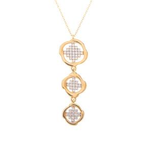 Mücevher Dünyası - 14 Ayar Taşlı Zarif Model Altın Kolye