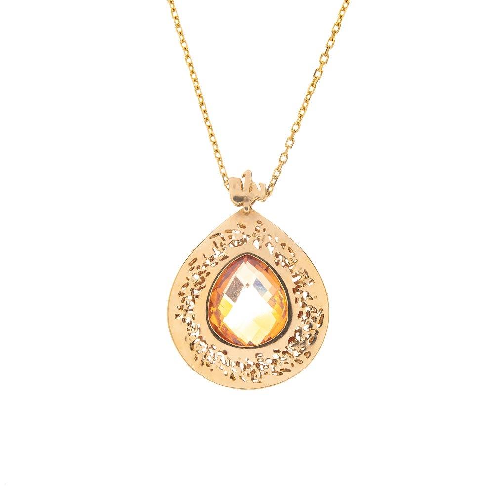 Mücevher Dünyası - 14 Ayar Taşlı Motifli Altın Kolye