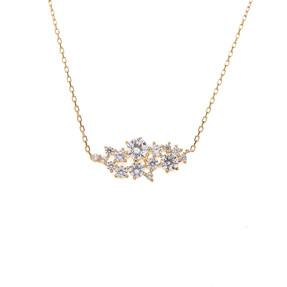 Mücevher Dünyası - 14 Ayar Taşlı İşlemeli Altın Kolye