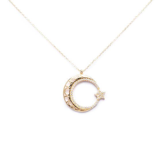 Mücevher Dünyası - 14 Ayar Taşlı Ayyıldız Kolye