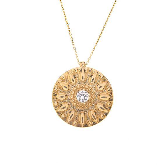 Mücevher Dünyası - 14 Ayar Taşlı Yuvarlak Plaka Altın Kolye