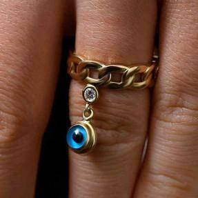 Mücevher Dünyası - 14 Ayar Taşlı Nazar Altın Yüzük | Mücevher Dünyası