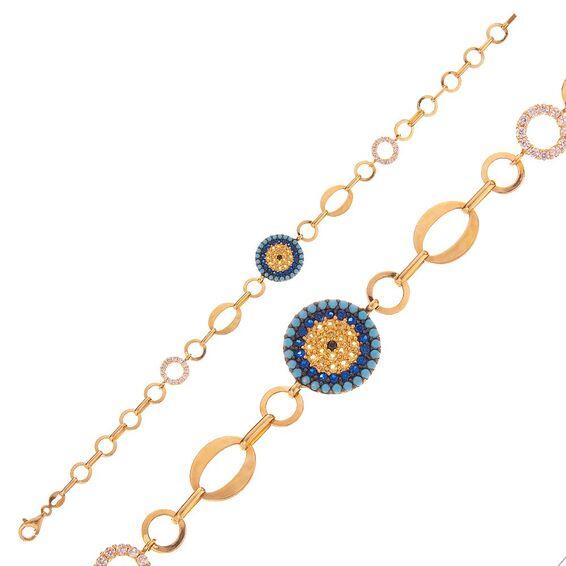 Mücevher Dünyası - 14 Ayar Taşlı Taşlı Nazar Boncuklu Altın Bileklik