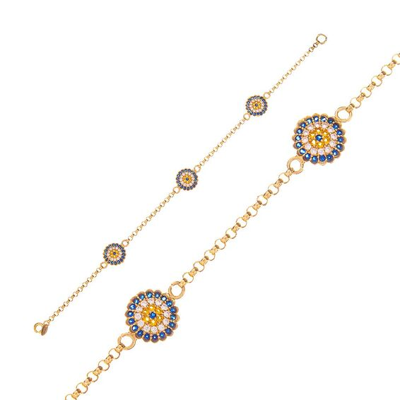 Mücevher Dünyası - 14 Ayar Taşlı Nazar Boncuklu Altın Bileklik