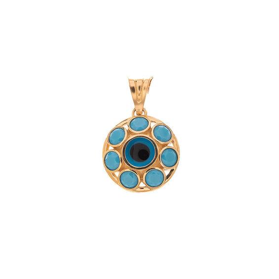 Mücevher Dünyası - 14 Ayar Taşlı Nazar Boncuklu Altın Madalyon