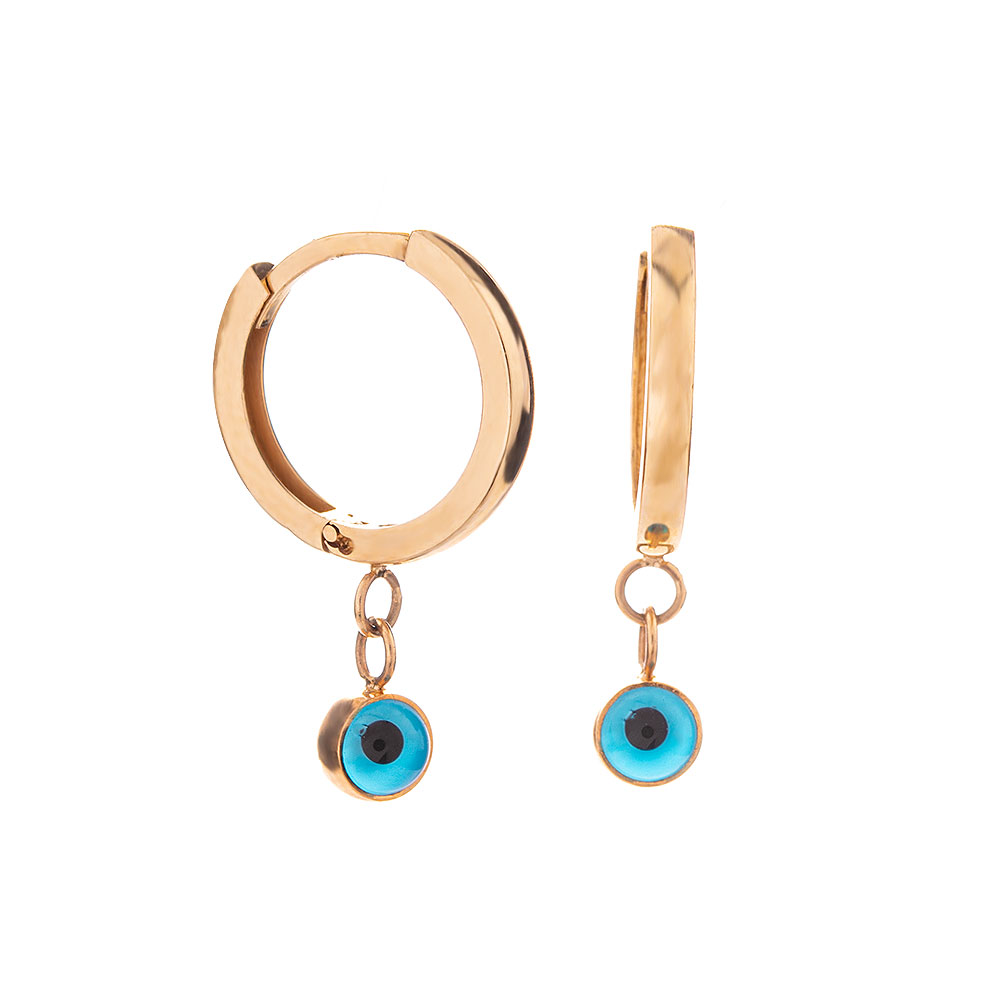 Mücevher Dünyası - 14 Ayar Taşlı Nazar Boncuklu Halka Altın Küpe