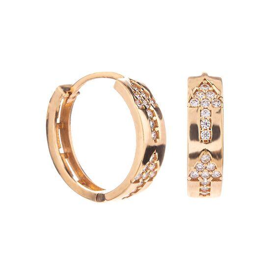 Mücevher Dünyası - 14 Ayar Taşlı Ok Altın Küpe