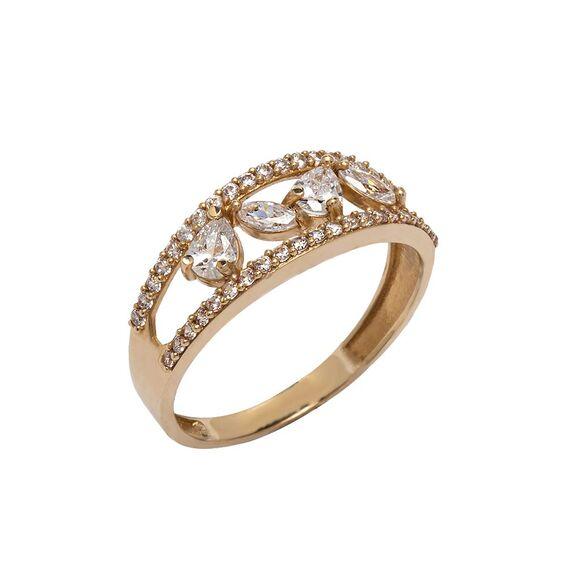 Mücevher Dünyası - 14 Ayar Taşlı Özel Tasarım Altın Yüzük