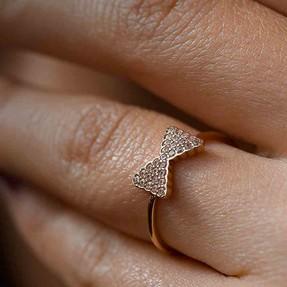 Mücevher Dünyası - 14 Ayar Taşlı Papyon Altın Yüzük | Mücevher Dünyası