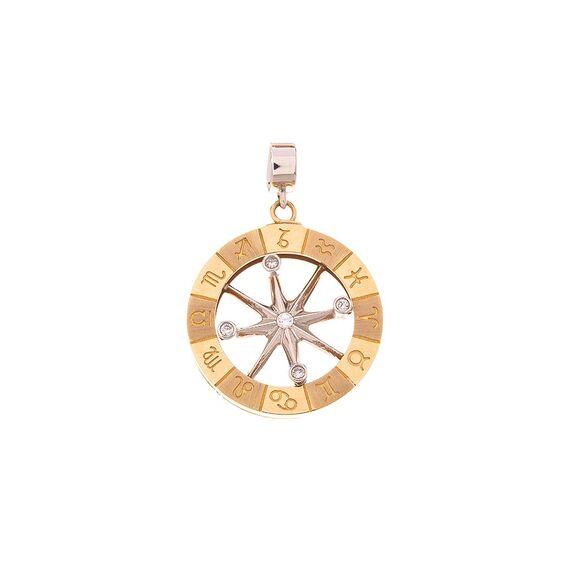 Mücevher Dünyası - 14 Ayar Taşlı Pusula Altın Madalyon