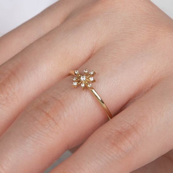 Mücevher Dünyası - 14 Ayar Taşlı Pusula Altın Yüzük - 12