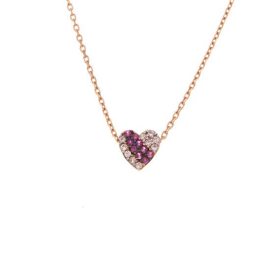Mücevher Dünyası - 14 Ayar Taşlı Renkli Kalp Altın Kolye