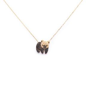 Mücevher Dünyası - 14 Ayar Taşlı Renkli Panda Altın Kolye