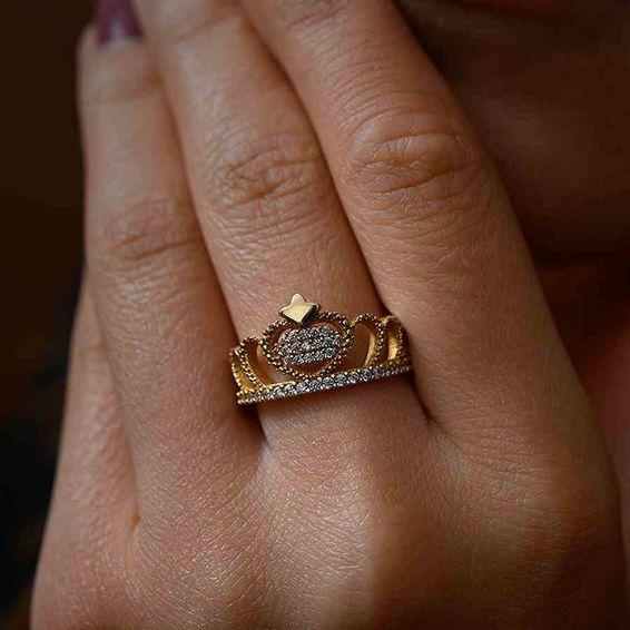 Mücevher Dünyası - 14 Ayar Taşlı Taç Altın Yüzük | Mücevher Dünyası