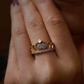 - 14 Ayar Taşlı Taç Altın Yüzük | Mücevher Dünyası