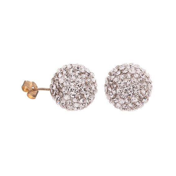 Mücevher Dünyası - 14 Ayar Taşlı Top Altın Küpe