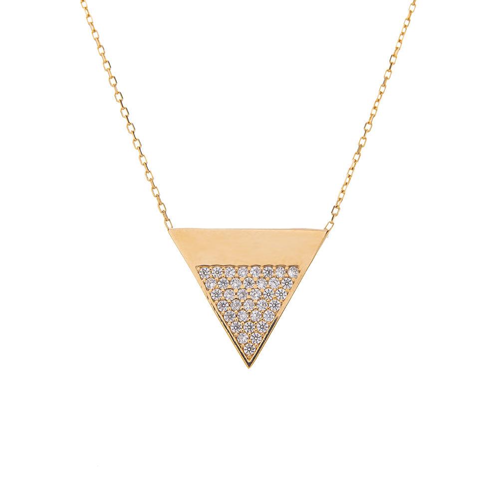 Mücevher Dünyası - 14 Ayar Taşlı Üçgen Altın Kolye