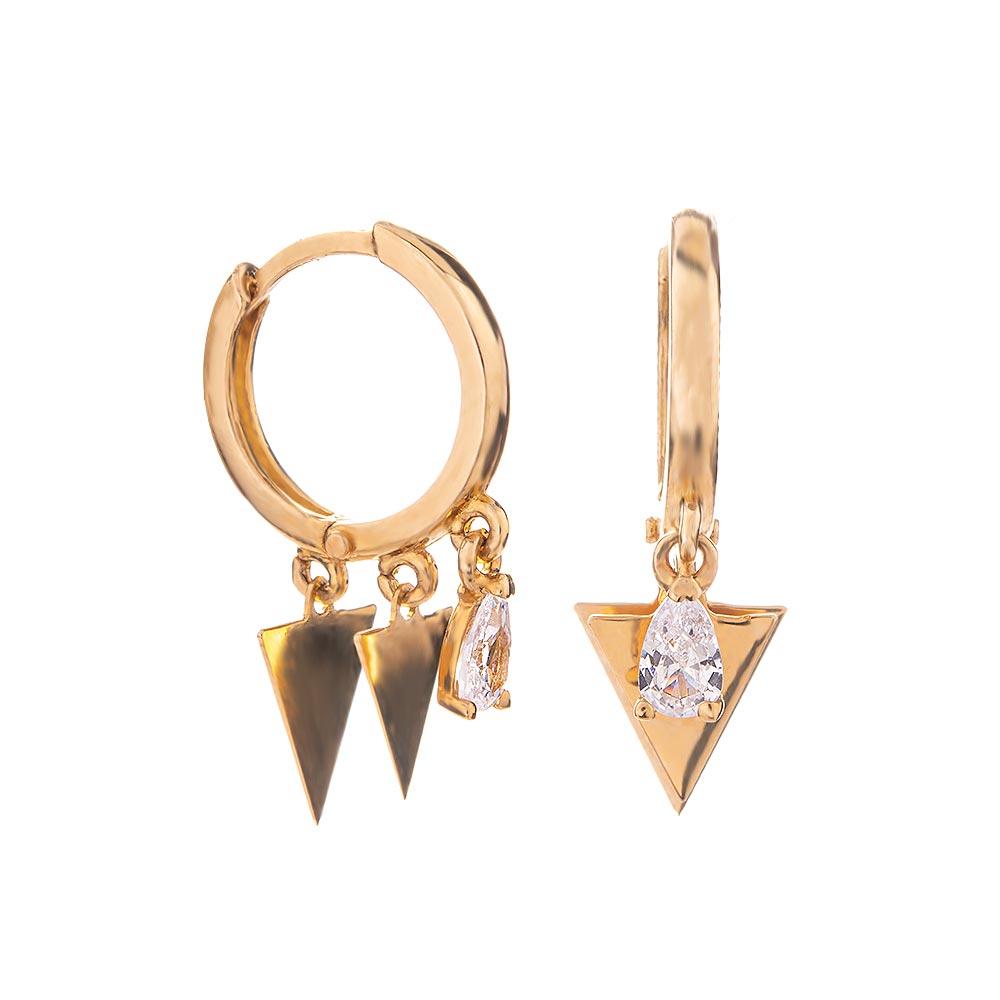 Mücevher Dünyası - 14 Ayar Taşlı Üçgen Pullu Altın Küpe