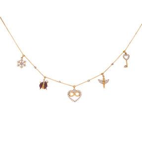 Mücevher Dünyası - 14 Ayar Taşlı Uğur Böcekli Kalpli Melek Anahtar Kristal Sonsuzluk Altın Kolye