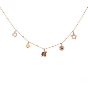 Mücevher Dünyası - 14 Ayar Taşlı Uğur Böcekli Yıldızlı Kalpli Nazar Boncuklu Halkalı Altın Kolye