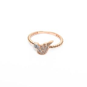 14 Ayar Taşlı Yarım Kanat Rose Altın Eklem Yüzük - Thumbnail