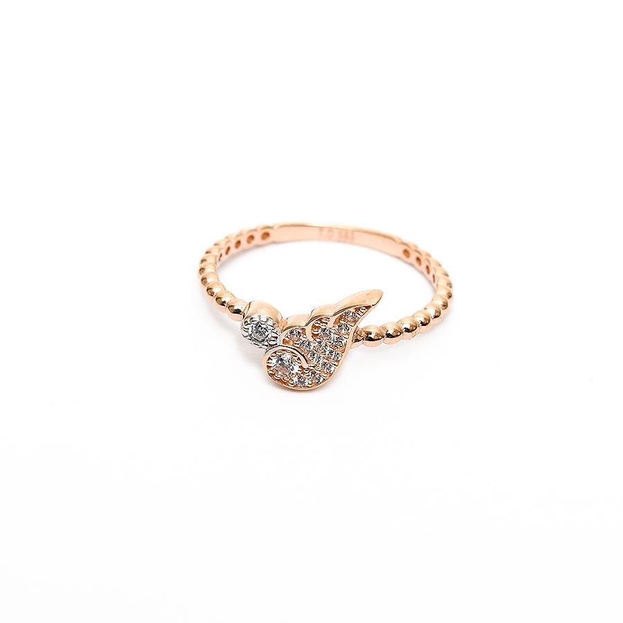 Mücevher Dünyası - 14 Ayar Taşlı Yarım Kanat Rose Altın Eklem Yüzük