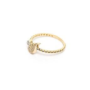14 Ayar Taşlı Yarım Kanat Altın Eklem Yüzük - Thumbnail