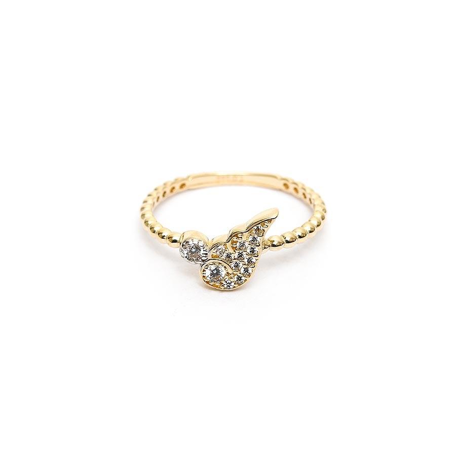 Mücevher Dünyası - 14 Ayar Taşlı Yarım Kanat Altın Eklem Yüzük