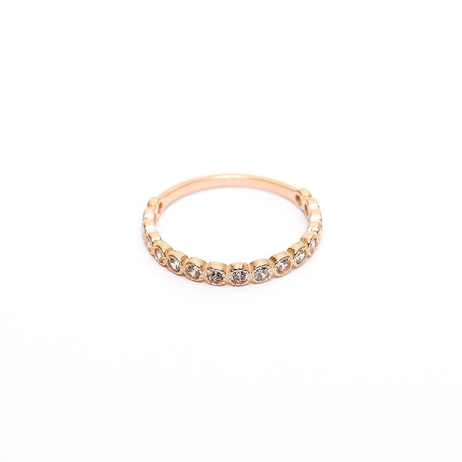 Mücevher Dünyası - 14 Ayar Taşlı Yarım Tur Altın Eklem Yüzük