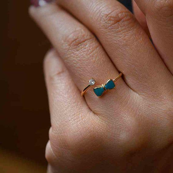 Mücevher Dünyası - 14 Ayar Taşlı Yeşil Papyon Altın Eklem Yüzük | Mücevher Dünyası