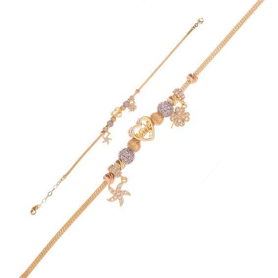 Mücevher Dünyası - 14 ayar Taşlı Yıldızlı Kalpli Love Yazılı Dorika Altın Bileklik