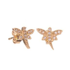 Mücevher Dünyası - 14 Ayar Taşlı Yusufçuk Altın Küpe