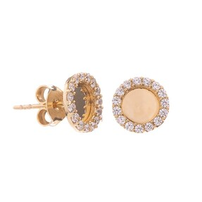 Mücevher Dünyası - 14 Ayar Taşlı Yuvarlak Altın Küpe
