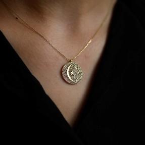 Mücevher Dünyası - 14 Ayar Taşlı Yuvarlak Ay Yıldız Altın Kolye