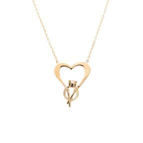 Mücevher Dünyası - 14 Ayar Taşlı Yüzük Ve Kalp Altın Kolye