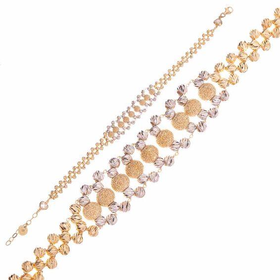Mücevher Dünyası - 14 Ayar Toplu Dorika Altın Bileklik