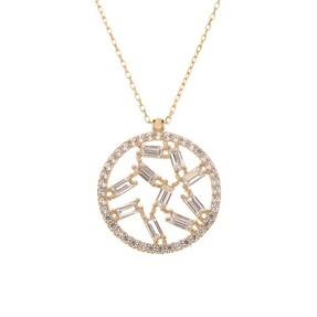 Mücevher Dünyası - 14 Ayar Toplu Taşlı Çember Altın Kolye