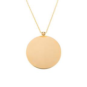 Mücevher Dünyası - 14 Ayar Toplu Yuvarlak Plaka Altın Kolye