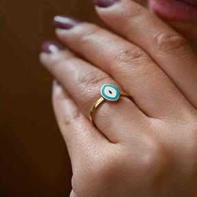 Mücevher Dünyası - 14 Ayar Turkuaz Altın Eklem Yüzük | Mücevher Dünyası