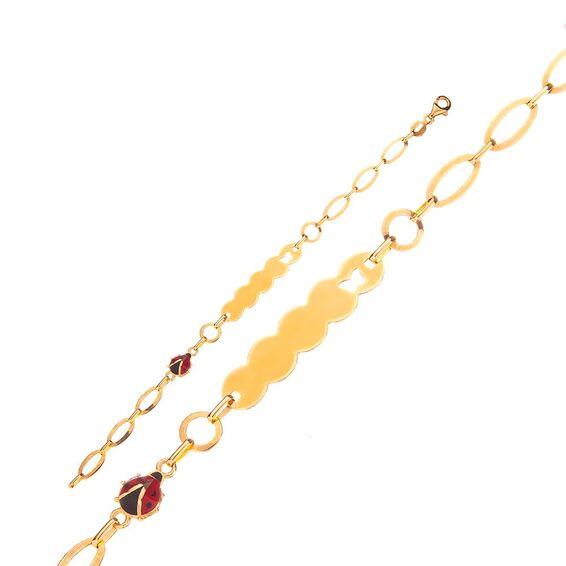 Mücevher Dünyası - 14 Ayar Uğur Böcekli Kelebekli Altın Çocuk Künye