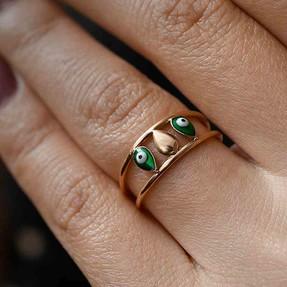 Mücevher Dünyası - 14 Ayar Yeşil Nazar Altın Yüzük | Mücevher Dünyası