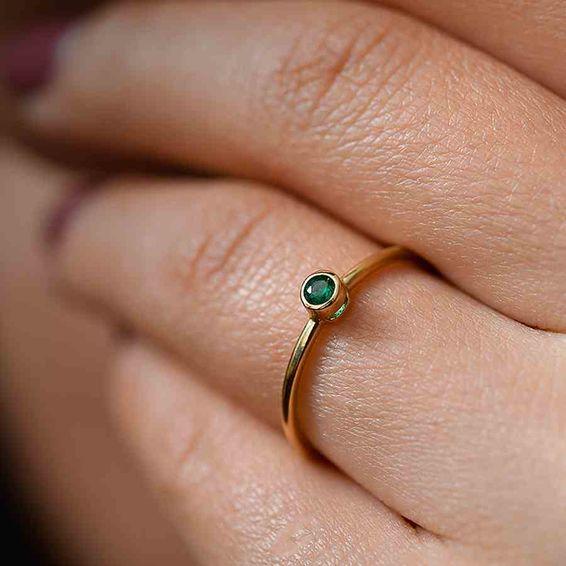 Mücevher Dünyası - 14 Ayar Yeşil Taşlı Altın Yüzük | Mücevher Dünyası